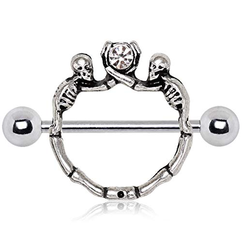 Pair of Wicked Double Skeleton Shield Nipple Piercing Rings Barbells - 14G 3/4