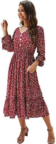 AmazingDays Women Autumn V-Neck Printing Elegant Knee Length Fashion Long Sleeve Boho Dress