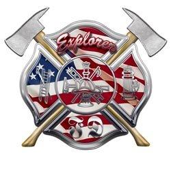 American Flag FD Maltese Cross Firefighter Explorer Decal - 3