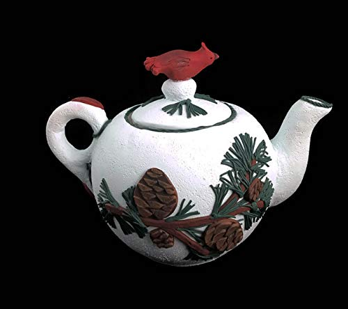 (Pine cones and branches teapot with cardinal bird)