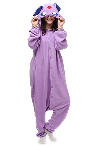 OLadydress Unisex Espeon Costumes Pajamas, Adult and Teens Cosplay One-piece Pajamas Purple Medium
