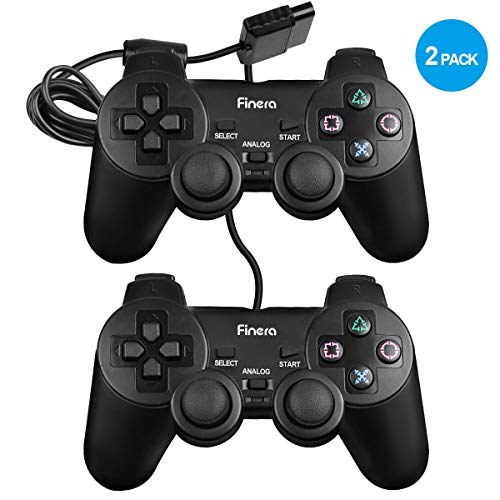 - Finera Wired Controller Replacement Compatible with Sony PS2/Playstation2 Dual Shock Console Video Game (2 Packs)