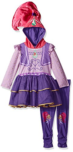 Nickelodeon Little Girls' Shimmer Genie Costume Dress and Legging 2-Piece Bundle Set, Lilac/Multi, L-6X (Genie Costumes For Kids)