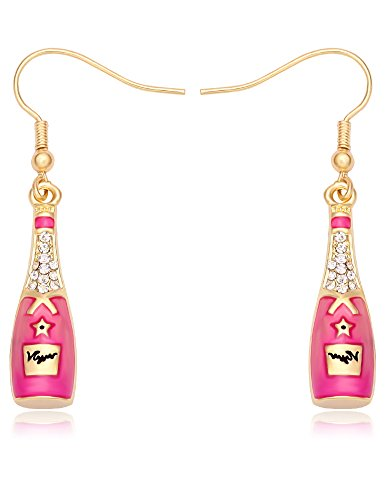 TUSHUO Gold-Plated Colored Wine Bottle Enamel Engraved Letter Earring