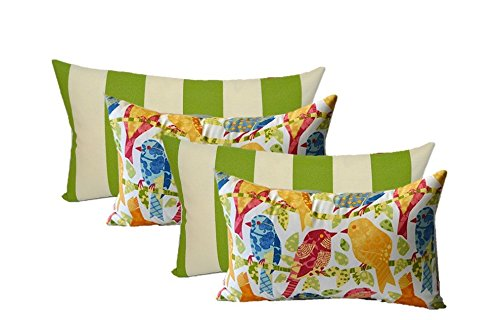 - Set of 4 Indoor / Outdoor Decorative Lumbar / Rectangle Pillows - 2 Ash Hill Orange Blue Yellow Red Garden Birds & 2 Green Ivory Stripe