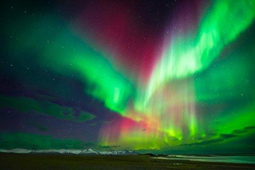 Aurora Borealis Northern Lights Over Iceland Photo Art Print Poster 12x18 inch