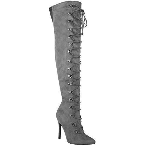 Mujer Por Encima De La Rodilla Sobre Rodilla Tacón De Aguja Botas Zapatos Con Cordones Talla Gris Cuero De Ante