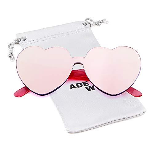 Love Heart Shape Sunglasses Women Rimless Frame Colorful SunGlasses by ADEWU
