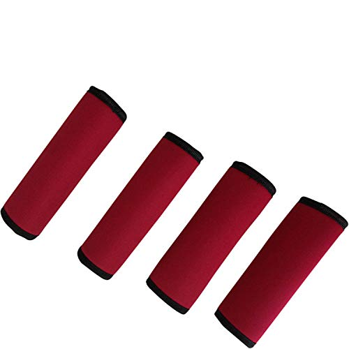 (Luggage Spotter 50% Off Super Grabber Set of 4 RED Soft Comfort Neoprene Handle Wraps Grip Luggage Identifier for Travel Bags, Suitcases, Heavy Grocery Bags and)