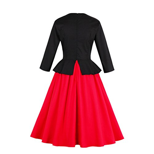 Vestido para Dissa mujer trapecio Rojo qCRdBH