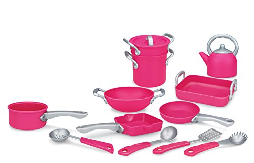 Liberty Imports Deluxe Pink Kitchen Gourmet Cookware Pots and Pans Playset for Girls (13 ()