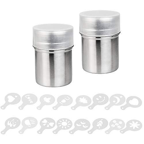 DECARETA Powder Shakers 2 Packs Shakers with Lid Coffee Chocolate Dredges with Printing Molds Stencils for Baking Cooking Home Restaurant