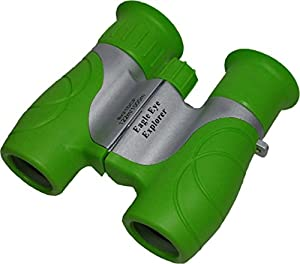 Shock Proof, Waterproof, 8x21 Kids Binoculars, Wrist Strap, and Case. Use for Bird Watching, Learning, Stargazing, Hunting, Hiking, Sports, Games, Outdoor Adventure for Boys and Girls. Color: Green