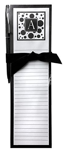 - Monogram A Magnetic List Pad & Pen Gift Set, Blanc Noir Series