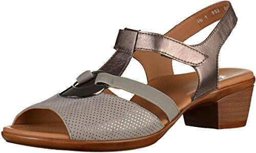 Gray Women's Bar Sandals Lugano ara T 47wqX6Unx