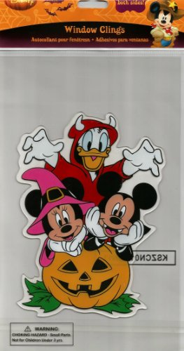 Disney Spooky Jelz Mickey & Minnie Mouse w/ Donald Halloween Gel Window Cling