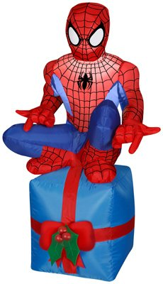 Gemmy Inflatable Outdoor Spider Man Sitting on Chimney, - Man Inflatable Spider
