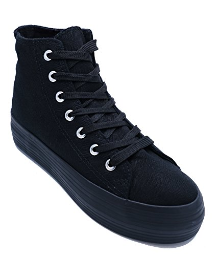 Ladies Black Lace-up Canvas Flat Trainer Plimsoll Pumps Casual Platform Boots Shoes Sizes 3-8 BUQ0In9oOz