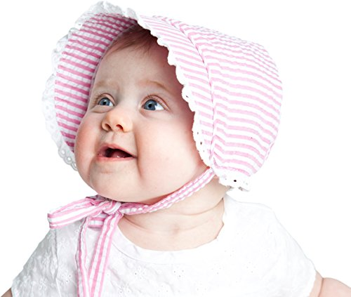 Huggalugs Baby Girls Seersucker Flower Print Bonnet with Eyelet Lace in 4 Color Choices