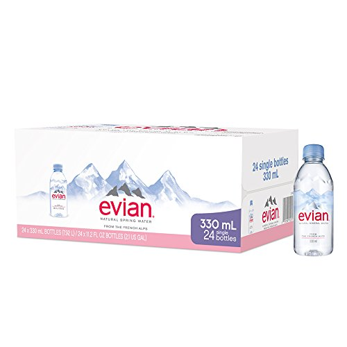 evian Natural Spring Water, One Case of 24 Individual 330 ml (11.2 oz.) Mini-Bottles of Naturally Filtered Spring Water