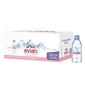 evian Natural Spring Water One Case of 24 Individual 330 ml (11.2 oz.) Mini-Bottles, Naturally Filtered Spring Water Small Water Bottles
