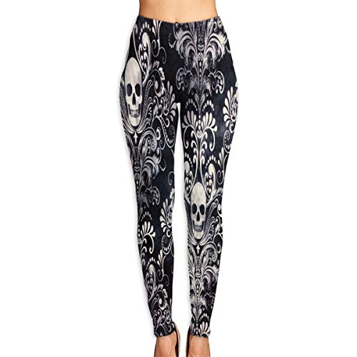 HU MOVR Womens Yoga Pants Gothic Skull Damask Scary Halloween Slim Fit Leggings Workout Pant -