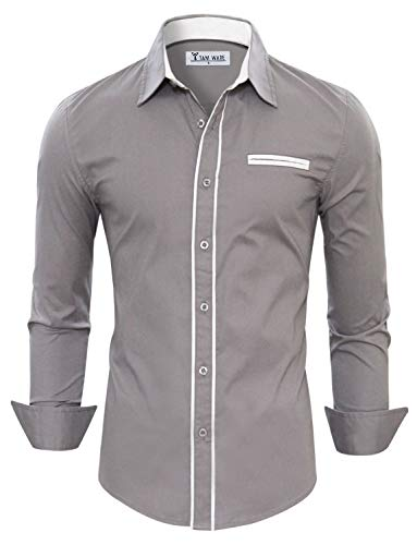 TAM WARE Mens Premium Casual Inner Contrast Dress Shirt TWNMS310-1-CMS03-GRAY-US M ()