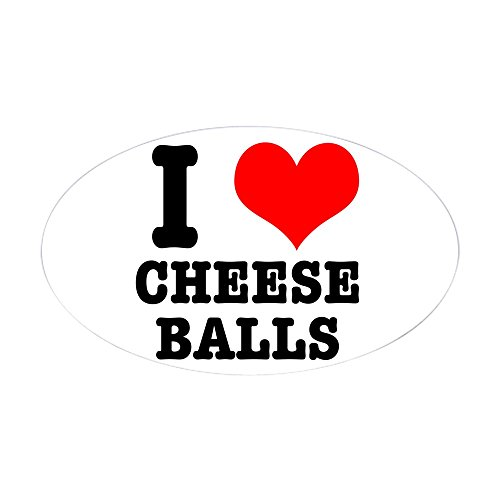 CafePress - I Heart (Love) Cheese Balls Oval Sticker - Oval Bumper Sticker, Euro Oval Car Decal (Cheese Love Sticker)