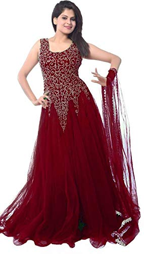 RR Fab Maroon Soft Net Semi-stitched Gown For Women   Girl (maroon)   Amazon.in  Clothing   Accessories f9620cbaf