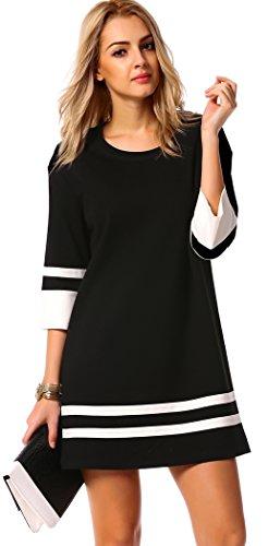 Halife Women's Elegant 3/4 Sleeve Crewneck Contrast Color Straight Shift Dress (S, Black)