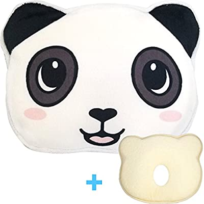 Baby Head Shaping Pillow - Help Prevent A Flat Spot from Developing On Baby's Head- Great for Infants to 18 Months Old - Panda Pillowcase Included