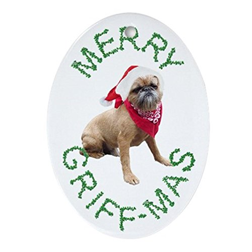 CafePress Brussels Griffon Merry Griff-mas Oval Ornament for sale  Delivered anywhere in USA