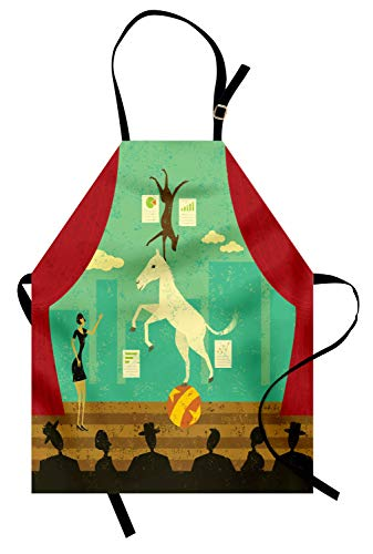 Ambesonne Circus Apron, Circus Show of Pony and Hound Dog with Assistant at Theatre Stage and Audience Theme, Unisex Kitchen Bib Apron with Adjustable Neck for Cooking Baking Gardening, Multicolor