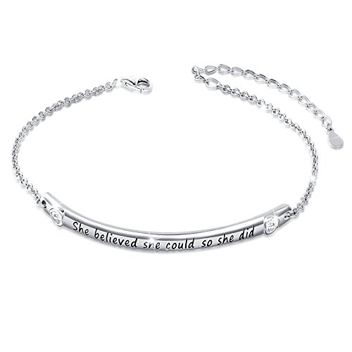 "(Sterling Silver Engraved Inspirational Adjustable Bracelet ""She Believed She Could So She Did"" Gift for Her, Women, Friendship (Style 1 White Gold Plated))"