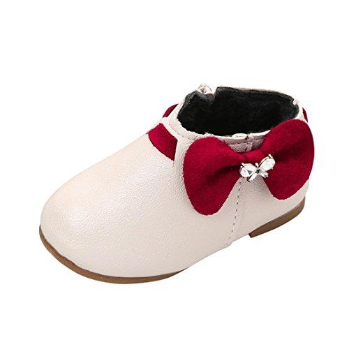 Huhu833 Kinder Mode Mädchen Nette Bowknot Sneaker Stiefel Reißverschluss Freizeitschuhe Beige