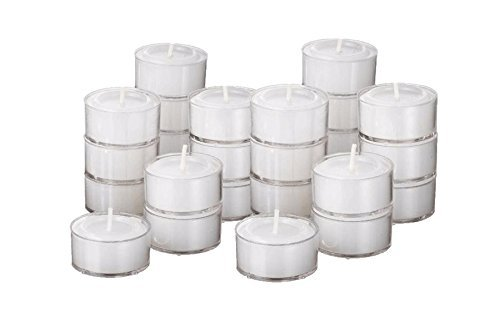 White Unscented Tea Light Candles Burn 8 Hour in Clear Cup Set of 60 Tealights