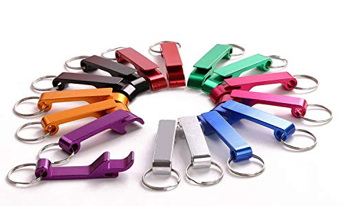 Shapenty 8 Colored Metal Split Key Ring Chain Keychain Bulk Aluminum Pocket Claw Bar Soda Beverage Beer Bottle Opener, 16 Pieces