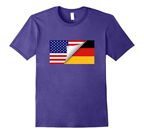 Mens German American Flag T-Shirt Half German Half American Shirt Medium Purple