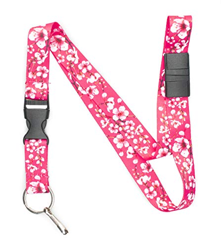Limeloot Pink Cherry Blossom Premium Lanyard with Breakaway, Release Buckle, and Flat ()