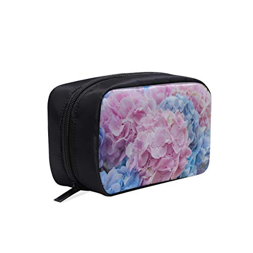 (Blue And Pink Flowers Of Hydrangea Portable Travel Makeup Cosmetic Bags Organizer Multifunction Case Small Toiletry Bags For Women And Men Brushes Case)