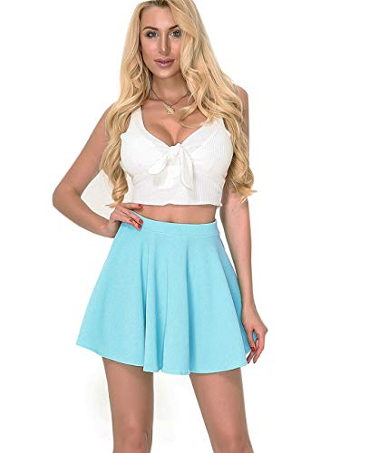 Moxeay High Waisted Skirt for Women Stretch Pleated Skater Skirt A Line Circle Mini Skirt