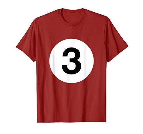 (Billiards Ball 3 Shirt No. 3 Costume Idea Pool Player Gifts )