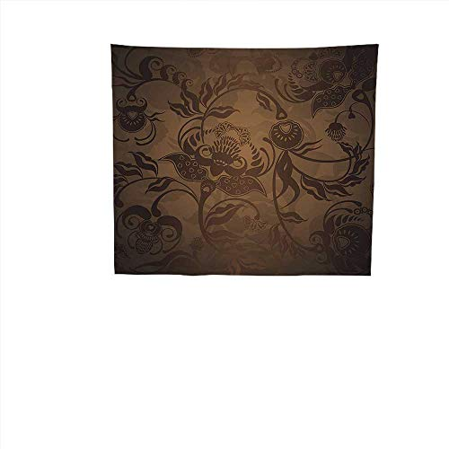 Paisley Brown Needlepoint (QINYAN-HOME Art Hippie Tapestry (39W x 39L Inch Bedspread Picnic Bedsheet TapestryVictorian Decor Floral Paisley Ivy Design Leaves Abstract Details Print ES Seal Brown Chocolate.)