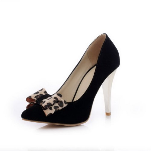 VogueZone009 Womens Closed Pointed Toe High Heel Suede PU Frosted Solid Pumps with Bowknot Black