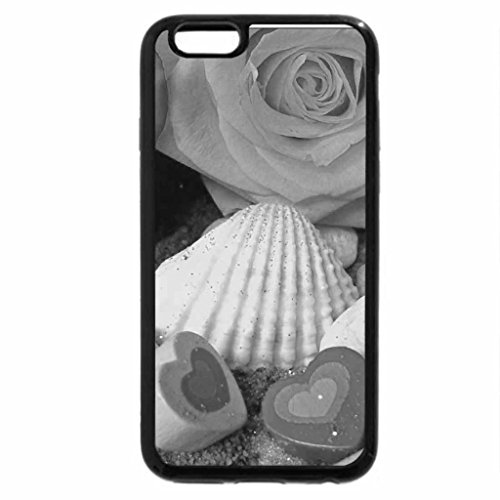 iPhone 6S Plus Case, iPhone 6 Plus Case (Black & White) - Roses with Shells