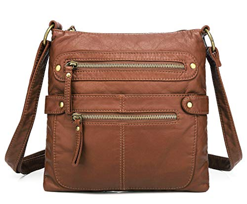 (Scarleton Small Crossbody Shoulder Bag for Women, Ultra Soft Washed Vegan Leather, Brown, H182004)