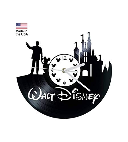 Vinyl Clock, Walt Disney, Mickey Mouse, Disney Castle, Christmas gift, Wall clock, vinyl record clock