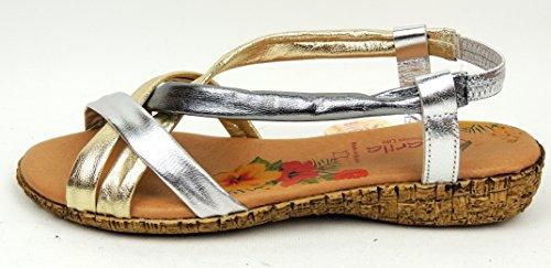 Marila - Sandalias de vestir de Piel para mujer Plateado plata 36 metal-multi