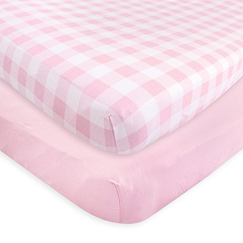 Touched by Nature Organic Fitted Crib Sheets, 2 Pack, Pink Plaid, One Size