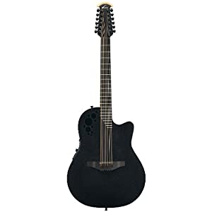 ovation elite t 2058tx 12 string acoustic electric guitar black musical instruments. Black Bedroom Furniture Sets. Home Design Ideas